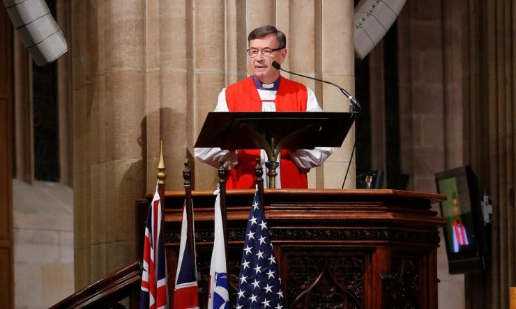 Sydney Anglican Archbishop Glenn Davies speaks during a church service in 2016.
