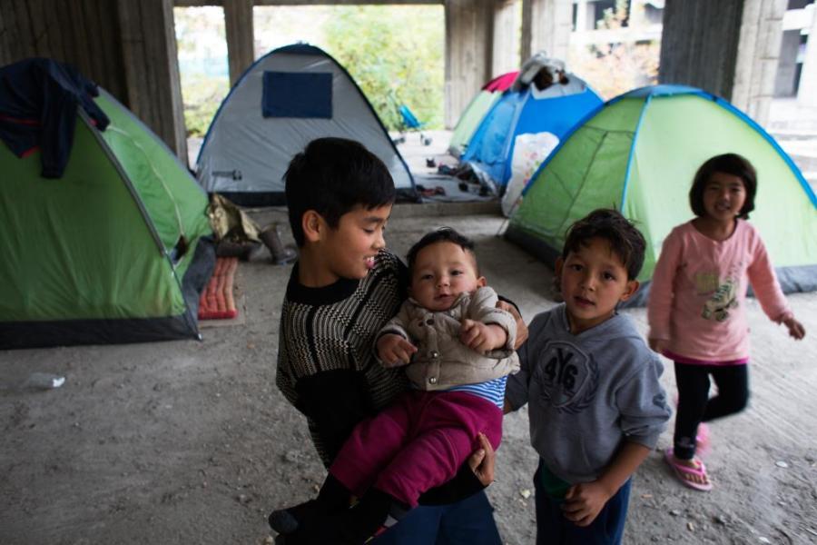 Refugees in Thessaloniki.