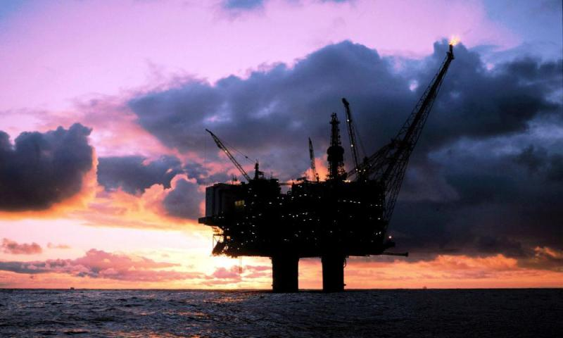 The Statfjord A- oil platform in the North Sea. off the Norwegian coast.