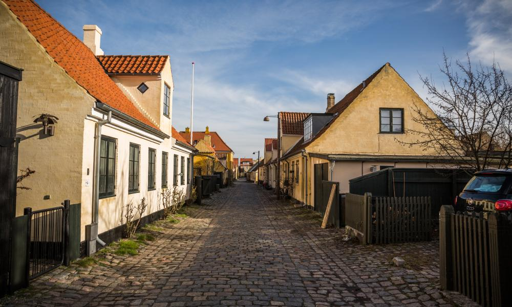 Quiet street in old Dragør, Denmark