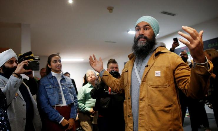 New Democratic Party (NDP) leader Jagmeet Singh speaks to campaign volunteers and supporters at the NDP election office on election day.
