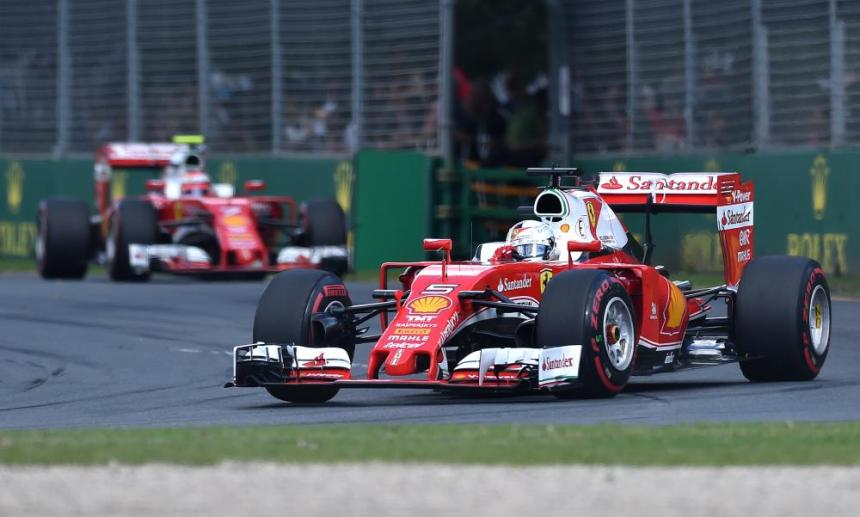 Ferrari driver Sebastian Vettel of Germany leads teammate Ferrari driver Kimi Raikkonen of Finland.