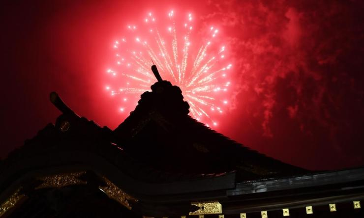 Fireworks explode over the Okunitama shinto shrine in Fuchu in the western suburbs of Tokyo on June 1, 2020.