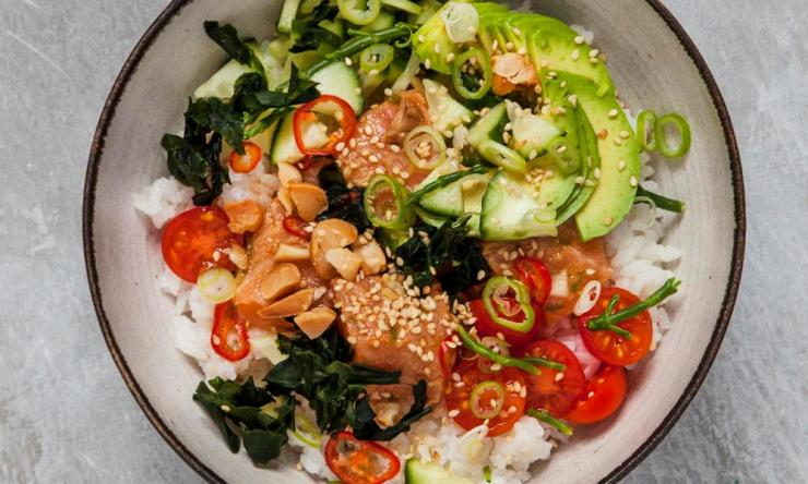 Tim Anderson's salmon poké is not unlike sushi.