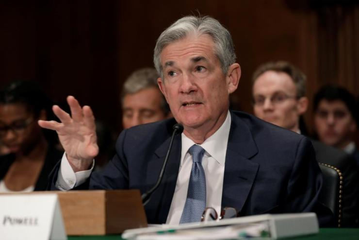 Federal Reserve Board Chairman Jerome Powell testifying at the Senate today.