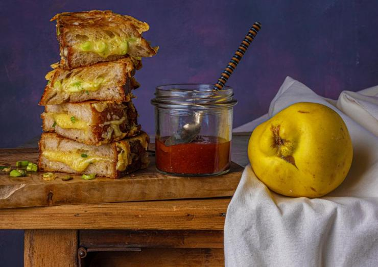 Toasted cheese sandwich with quince jelly, by Laura Jackson and Lori De Mori. Food styling Henrietta Clancy.