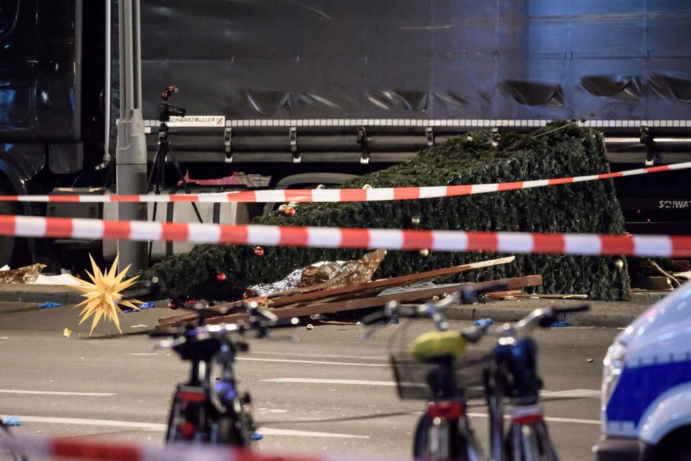 The scene where a truck crashed into a Christmas market in Berlin.