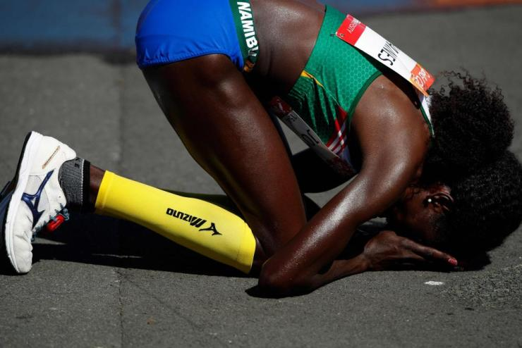 Namibia's Helalia Johannes reacts after winning the athletics women's marathon final during the 2018 Gold Coast Commonwealth Games.