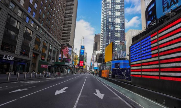 View of empty streets in New York's Times Square, 17 Mar 2020.