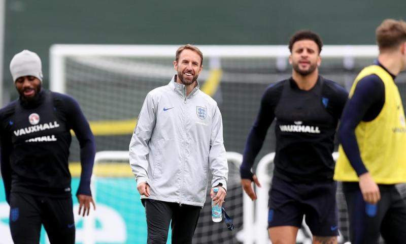 Gareth Southgate looks on during an England training session on Saturday.