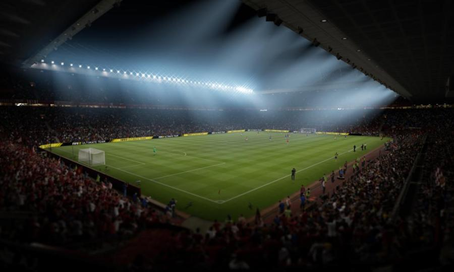 Mancester United's ground, Old Trafford, as realised by Fifa 2017