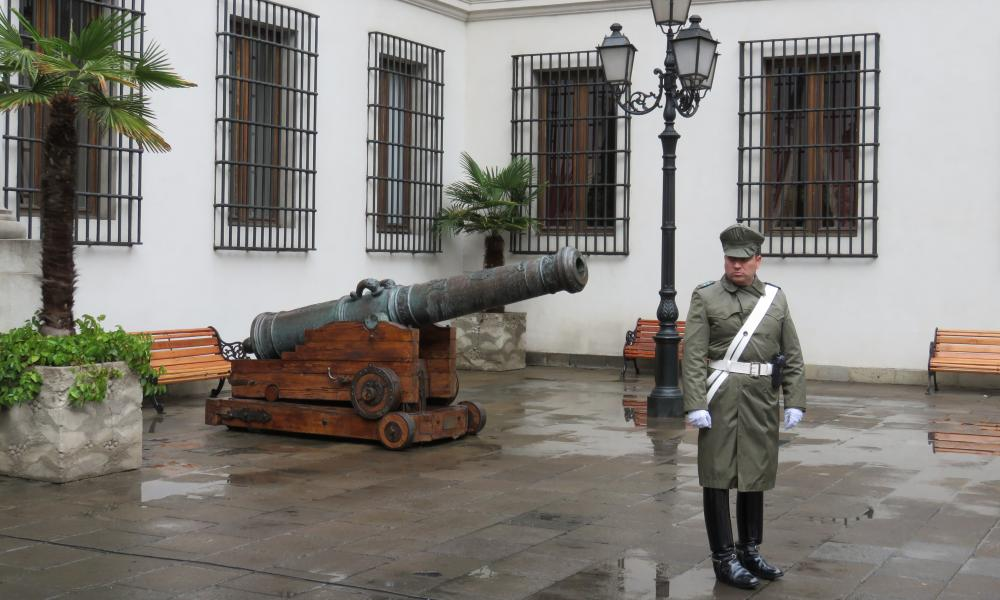 Guard outside La Moneda Palace in Santiago, Chile.