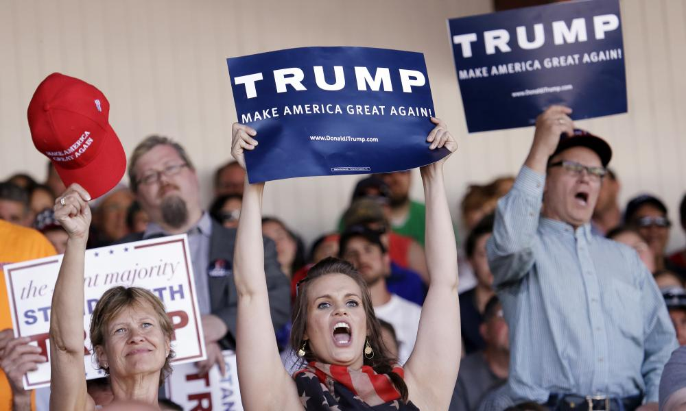 Trump fans in Washington state on Sunday.