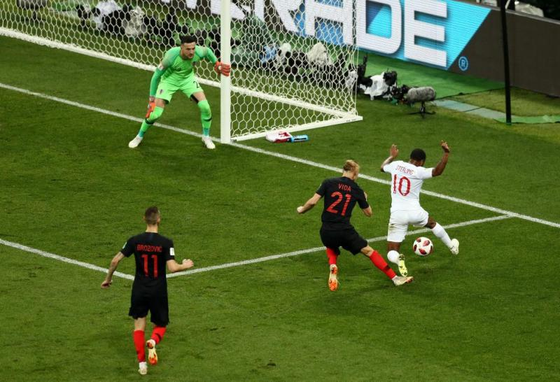 Raheem Sterling of England is challenged by Domagoj Vida of Croatia inside the penalty area.