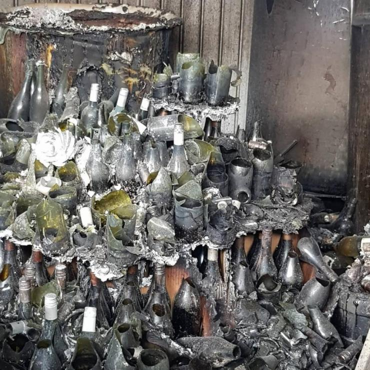 Wine bottles destroyed by fire on the Tilbrook Estate winery in Adelaide Hills, South Australia.
