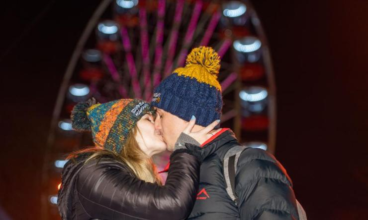 A couple get into the spirit of Hogmanay.