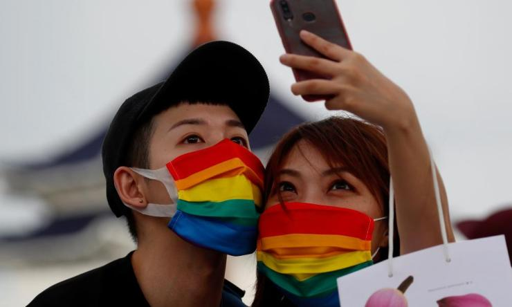 Members of the LGBT community join a march to celebrate the Pride month at the National Chiang Kai-shek Memorial Hall in Taipei, Taiwan, 28 June 2020. Credit: EPA/RITCHIE B. TONGO