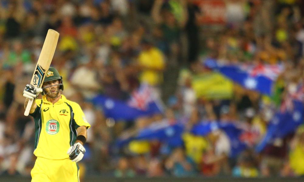 Glenn Maxwell acknowledges the crowd after bringing up his half-century earlier.