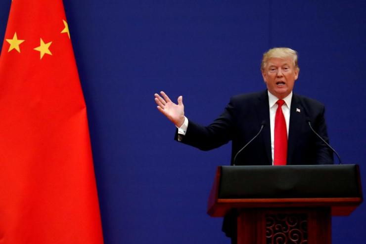U.S. President Donald Trump delivering a speech in the Great Hall of the People in Beijing, China, in November 2017.