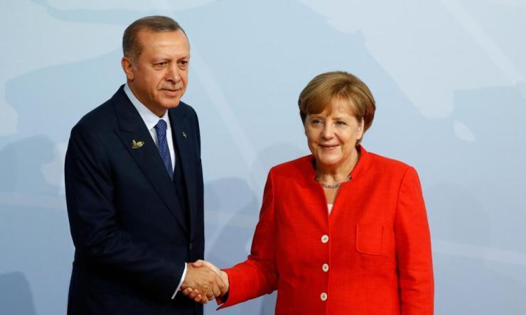 Merkel with Turkey's president Recep Tayyip Erdoğan.