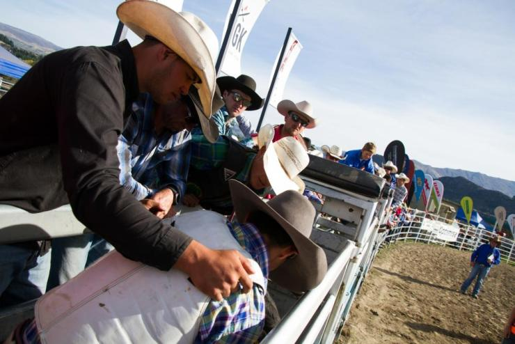 Chad Ormsby preparing his mount at the Wanaka rodeo.