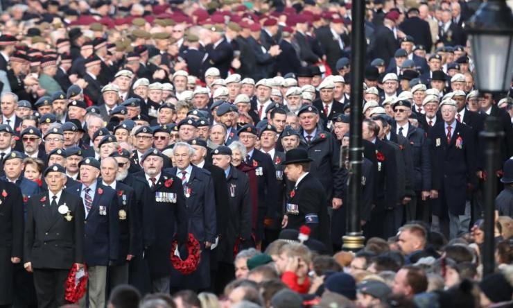 Veterans attend the annual Remembrance Sunday memorial on November 11 at the Cenotaph.