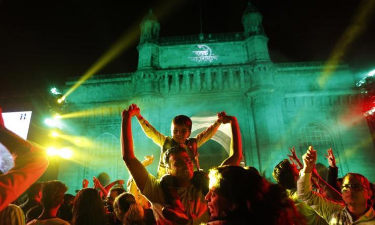 People celebrate in Mumbai.