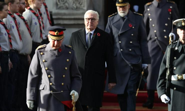 The Prince of Wales, President of Germany Frank-Walter Steinmeier and Prince Michael of Kent during the remembrance service at the Cenotaph memorial.