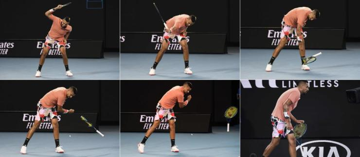 Australia's Nick Kyrgios smashes his racket after losing a point.