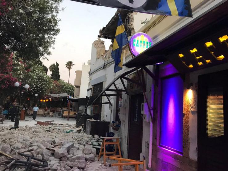 Damage caused by the quake in Kos.