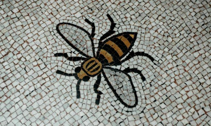 A mosaic of the Bee, Manchester's emblem, at the town hall in Manchester.