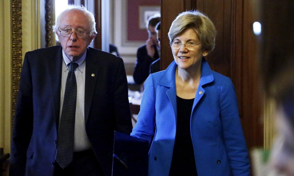 Bernie Sanders and Elizabeth Warren in Washington. Warren has so far declined to endorse either Sanders or Clinton.