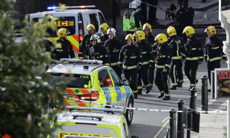 Members of the emergency services near Parsons Green tube station in London