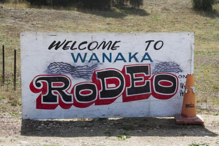 """""""Welcome to Wanaka Rodeo"""" sign."""