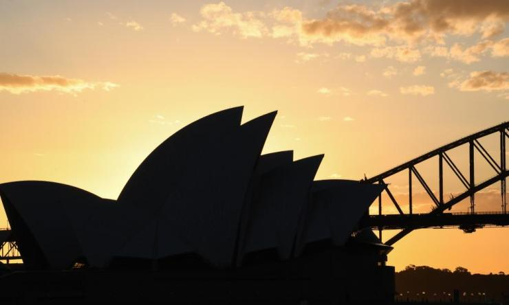 The Sydney Opera House and Harbour Bridge at sunset on 8 May 2020 in Sydney, Australia.