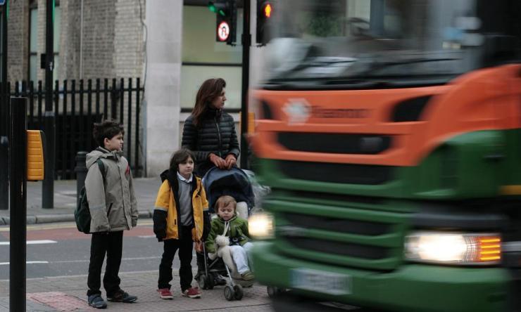A busy road crossing in Hackney, east London.