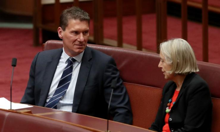 Cory Bernardi talks to Lee Rhiannon from the Greens in the Senate on Monday.