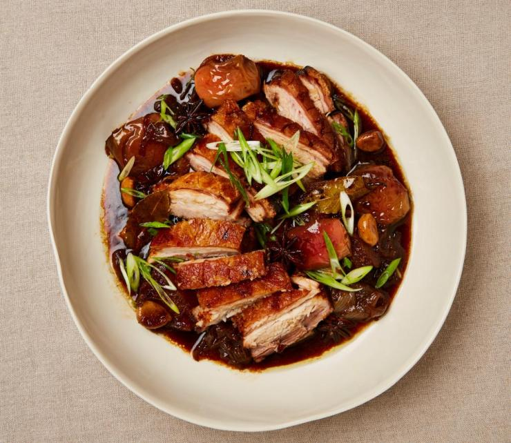 Yotam Ottolenghi's roast pork belly with apple, soy and ginger.