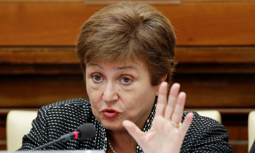 IMF Managing Director Kristalina Georgieva speaks during a conference hosted by the Vatican on economic solidarity in February 2020.