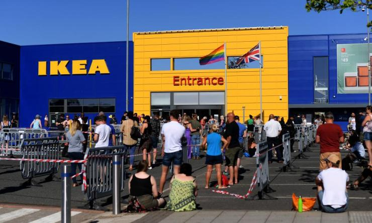 Customers queue outside an Ikea store in Nottingham