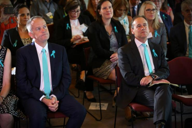Health minister Greg Hunt and opposition leader Bill Shorten at an ovarian cancer breakfast in Parliament House on Tuesday morning.