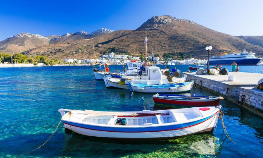 Traditonal fishing boats in Katapola port, Amorgos.