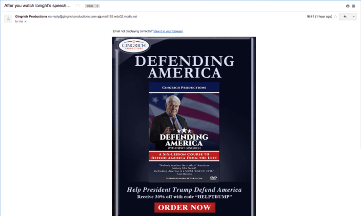 Email from Newt Gingrich