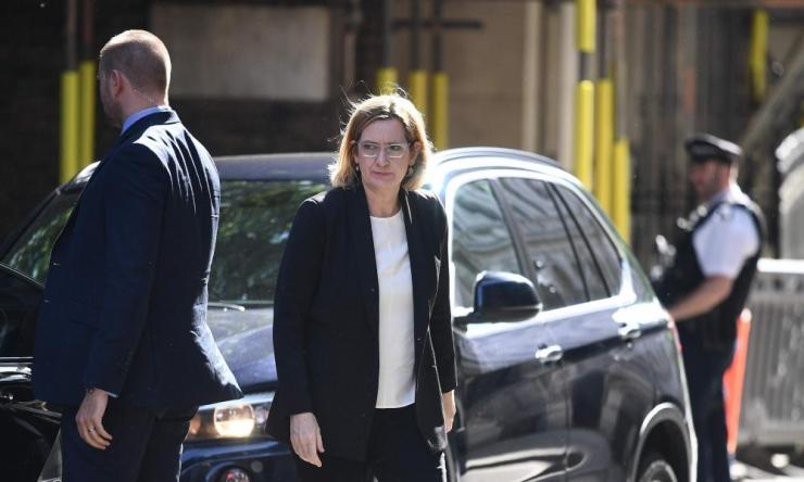 Amber Rudd arriving at Downing Street for the Cobra meeting this morning.