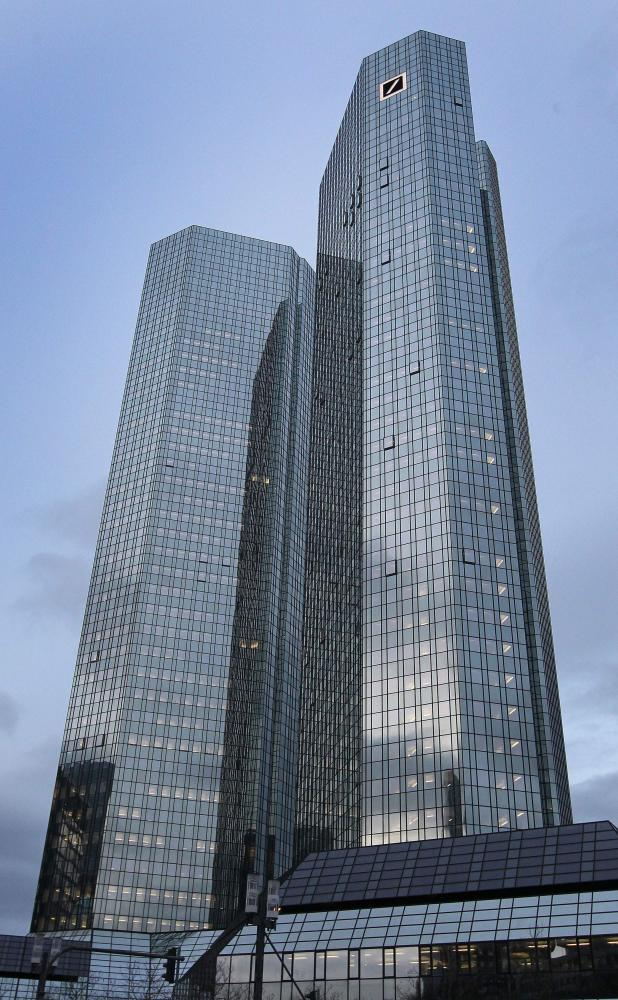 The headquarter of German company Deutsche Bank is pictured in Frankfurt/Main, Germany, on January 28, 2016. Deutsche Bank AG on Thursday reported a 6,8 billion Euro (7,2 billion dollars) loss. / AFP / DANIEL ROLANDDANIEL ROLAND/AFP/Getty Images