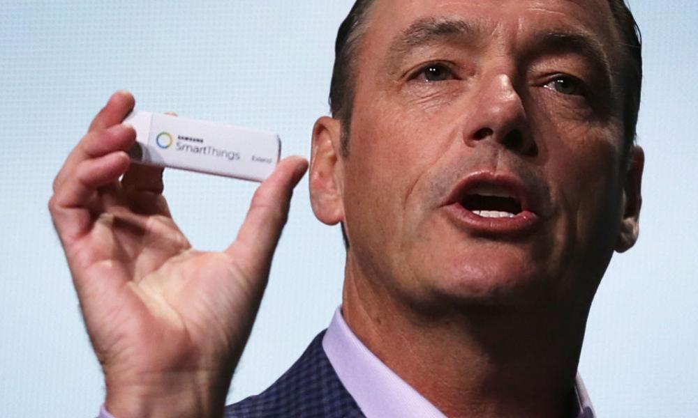 Baxter with the SmartThings Extend Adapter, which plugs into the back of your television.