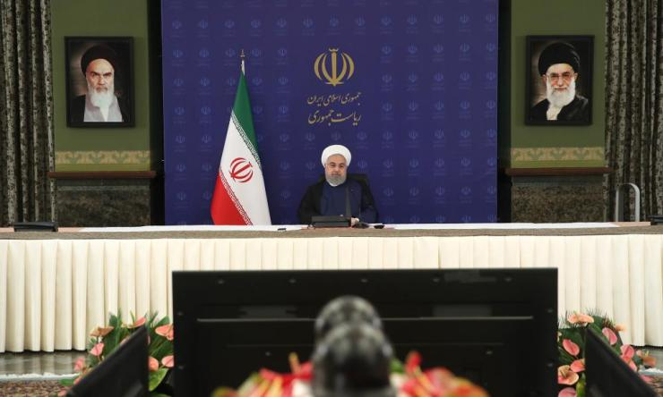Iran's president Hassan Rouhani makes statements on recent developments regarding the pandemic process in Tehran, Iran on June 13, 2020. (Photo by Iranian Presidency / Handout/Anadolu Agency via Getty Images)