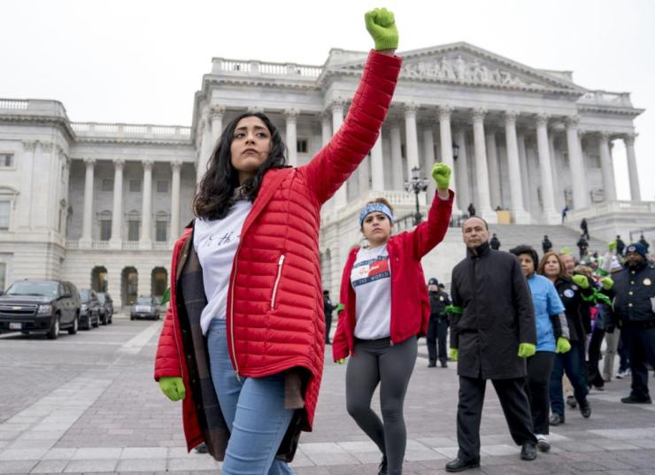 Demonstrators outside the US Capitol during an immigration rally in support of Deferred Action for Childhood Arrivals (Daca).