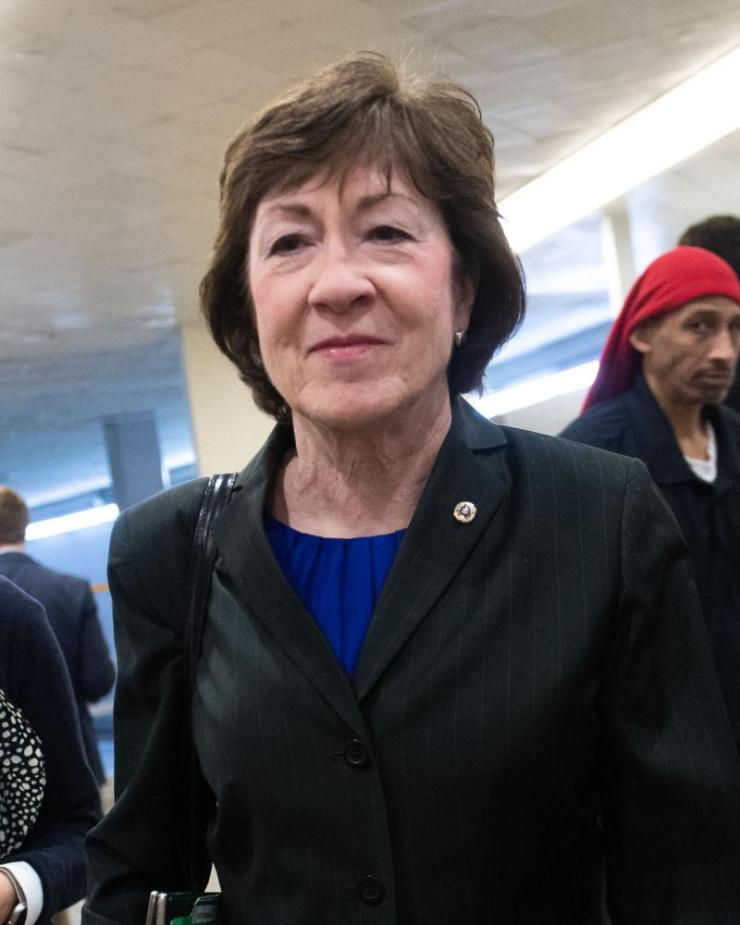 Susan Collins arrives for the trial.