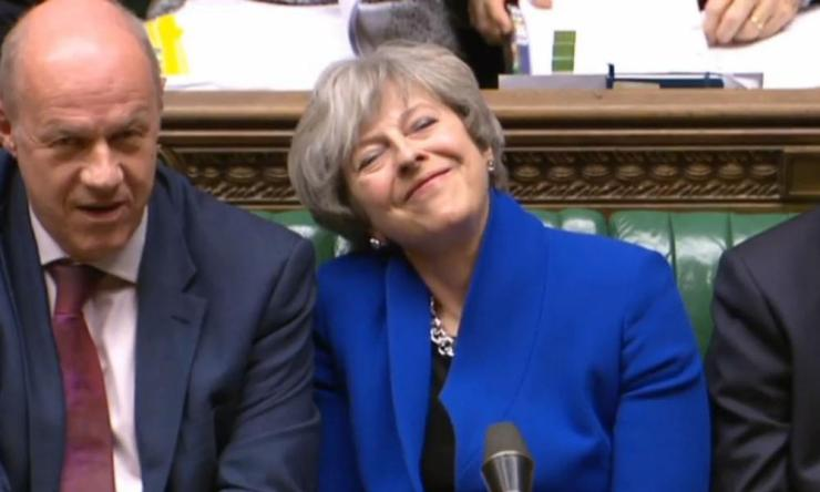 Theresa May sitting alongside Damian Green at PMQs yesterday. Hours later she sacked him.